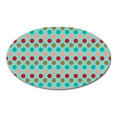 Large Circle Rainbow Dots Color Red Blue Pink Oval Magnet