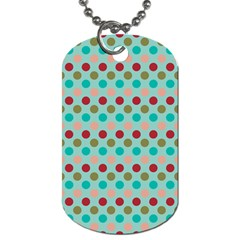 Large Circle Rainbow Dots Color Red Blue Pink Dog Tag (One Side)
