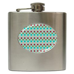 Large Circle Rainbow Dots Color Red Blue Pink Hip Flask (6 oz)