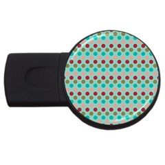 Large Circle Rainbow Dots Color Red Blue Pink USB Flash Drive Round (1 GB)