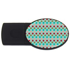 Large Circle Rainbow Dots Color Red Blue Pink Usb Flash Drive Oval (4 Gb)