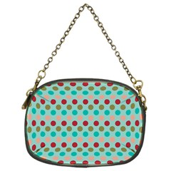 Large Circle Rainbow Dots Color Red Blue Pink Chain Purses (Two Sides)