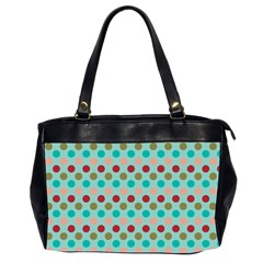 Large Circle Rainbow Dots Color Red Blue Pink Office Handbags (2 Sides)
