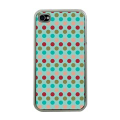 Large Circle Rainbow Dots Color Red Blue Pink Apple iPhone 4 Case (Clear)