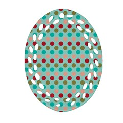 Large Circle Rainbow Dots Color Red Blue Pink Ornament (Oval Filigree)