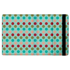 Large Circle Rainbow Dots Color Red Blue Pink Apple iPad 3/4 Flip Case