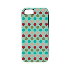 Large Circle Rainbow Dots Color Red Blue Pink Apple iPhone 5 Classic Hardshell Case (PC+Silicone)