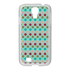 Large Circle Rainbow Dots Color Red Blue Pink Samsung GALAXY S4 I9500/ I9505 Case (White)