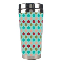 Large Circle Rainbow Dots Color Red Blue Pink Stainless Steel Travel Tumblers