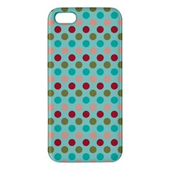 Large Circle Rainbow Dots Color Red Blue Pink iPhone 5S/ SE Premium Hardshell Case
