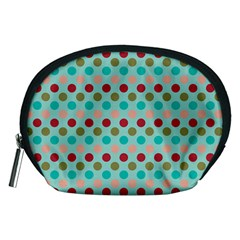 Large Circle Rainbow Dots Color Red Blue Pink Accessory Pouches (Medium)