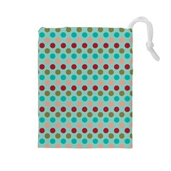 Large Circle Rainbow Dots Color Red Blue Pink Drawstring Pouches (Large)