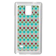 Large Circle Rainbow Dots Color Red Blue Pink Samsung Galaxy Note 4 Case (White)