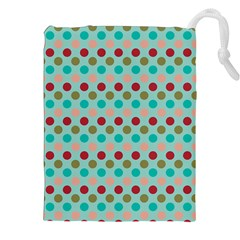 Large Circle Rainbow Dots Color Red Blue Pink Drawstring Pouches (XXL)