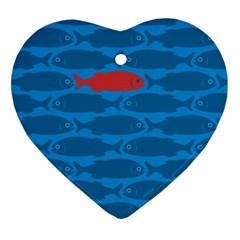 Fish Line Sea Beach Swim Red Blue Ornament (Heart)