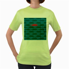 Fish Line Sea Beach Swim Red Blue Women s Green T Shirt