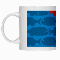 Fish Line Sea Beach Swim Red Blue White Mugs
