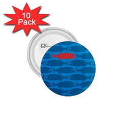 Fish Line Sea Beach Swim Red Blue 1 75  Buttons (10 Pack)