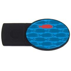 Fish Line Sea Beach Swim Red Blue USB Flash Drive Oval (2 GB)