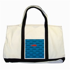 Fish Line Sea Beach Swim Red Blue Two Tone Tote Bag