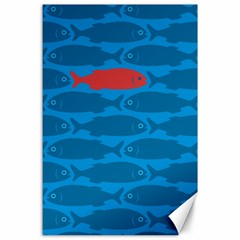 Fish Line Sea Beach Swim Red Blue Canvas 24  x 36