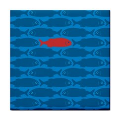 Fish Line Sea Beach Swim Red Blue Face Towel