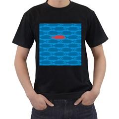 Fish Line Sea Beach Swim Red Blue Men s T-Shirt (Black)