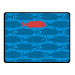 Fish Line Sea Beach Swim Red Blue Fleece Blanket (Small)