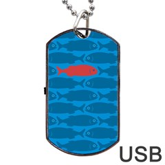 Fish Line Sea Beach Swim Red Blue Dog Tag USB Flash (One Side)