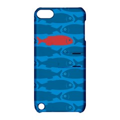 Fish Line Sea Beach Swim Red Blue Apple Ipod Touch 5 Hardshell Case With Stand