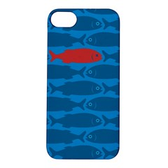 Fish Line Sea Beach Swim Red Blue Apple iPhone 5S/ SE Hardshell Case