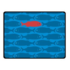 Fish Line Sea Beach Swim Red Blue Double Sided Fleece Blanket (Small)