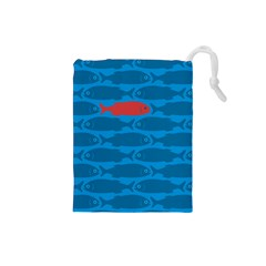 Fish Line Sea Beach Swim Red Blue Drawstring Pouches (Small)