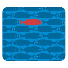 Fish Line Sea Beach Swim Red Blue Double Sided Flano Blanket (Small)