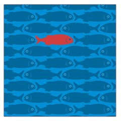 Fish Line Sea Beach Swim Red Blue Large Satin Scarf (square)