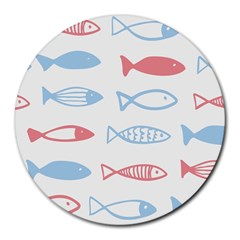 Fish Swim Sea Beach Red Blue White Round Mousepads