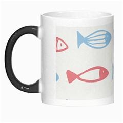 Fish Swim Sea Beach Red Blue White Morph Mugs