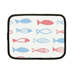 Fish Swim Sea Beach Red Blue White Netbook Case (small)