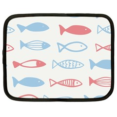 Fish Swim Sea Beach Red Blue White Netbook Case (XXL)