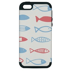 Fish Swim Sea Beach Red Blue White Apple iPhone 5 Hardshell Case (PC+Silicone)