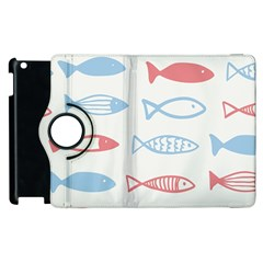 Fish Swim Sea Beach Red Blue White Apple iPad 2 Flip 360 Case