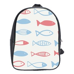Fish Swim Sea Beach Red Blue White School Bags (XL)