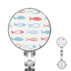 Fish Swim Sea Beach Red Blue White Stainless Steel Nurses Watch