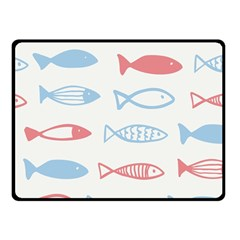 Fish Swim Sea Beach Red Blue White Double Sided Fleece Blanket (Small)