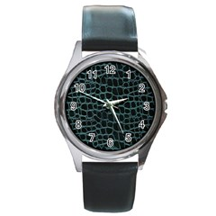 Fabric Fake Fashion Flexibility Grained Layer Leather Luxury Macro Material Natural Nature Quality R Round Metal Watch