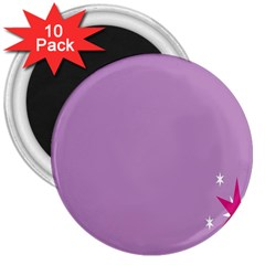 Purple Flagred White Star 3  Magnets (10 pack)