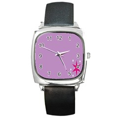 Purple Flagred White Star Square Metal Watch
