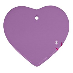 Purple Flagred White Star Heart Ornament (Two Sides)