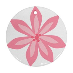 Pink Lily Flower Floral Ornament (Round)