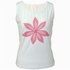 Pink Lily Flower Floral Women s White Tank Top
